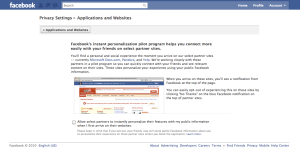 Facebook Personalization Settings