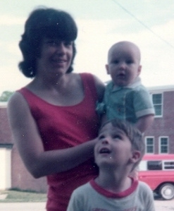 Mom, my little brother, and me in 1974