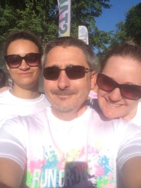 The Binary Biker, his wife, and his daughter before the Run or Dye 5k