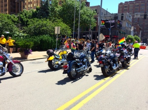 Bombs MC and Dykes on Bikes represented